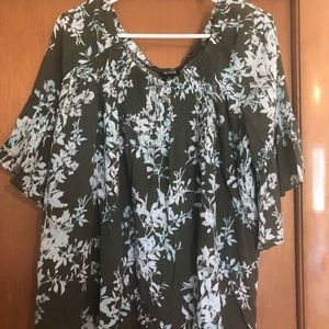 Olive flowered shirt